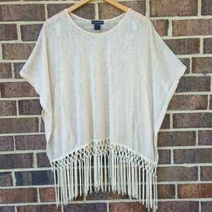 See you Monday Macrame Sheer Batwing Cream Top